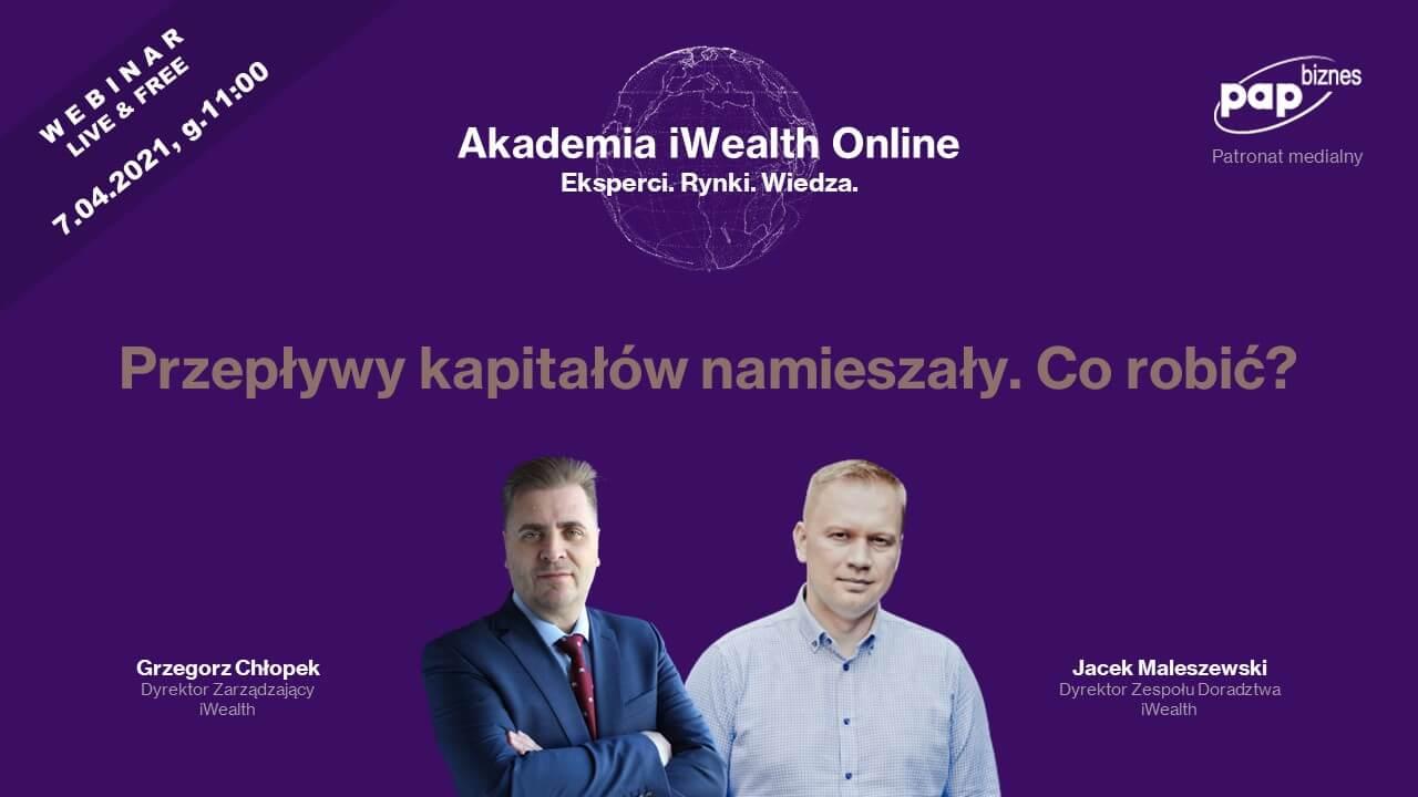 Zdjęcie zJackiem Maleszewskim oraz Grzegorzem Chłopkiem ziWealth jako prowadzącymi Akademię iWealth Online.